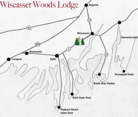 Map of Wiscasset Woods Lodge in Midcoast Maine showing many of the great things to do near our hotel.