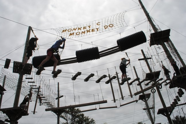 Monkey C Monkey Do is a fun activity for the whole family with a ropes course and zipline. In midcoast Maine just 1 mile from Wiscasset Woods Lodge