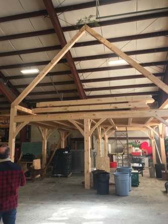 Post and beam structure built by students at the Shelter Institute in Midcoast Maine.