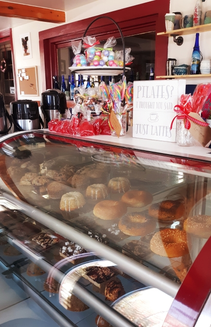 Baked goods on display at Creamed Baking Co. in Wiscasset, Maine next to Red's Eats.