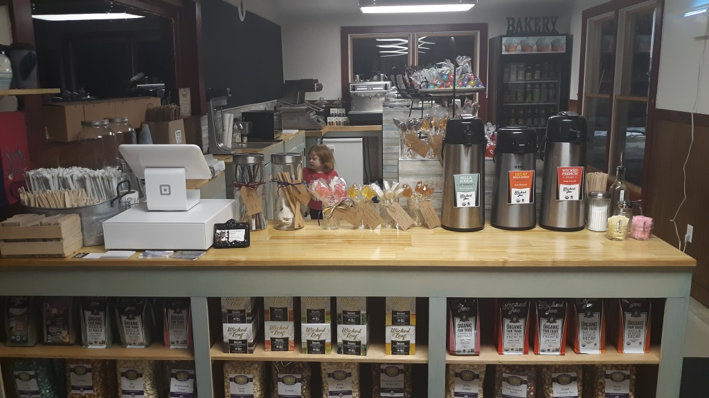 Creamed baking company's coffee selection in Wiscasset Maine next to Red's Eats.