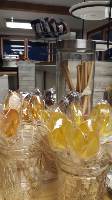 Creamed Baking Co. shows off homemade lollipops in their store in downtown Wiscasset next to Red's Eats.