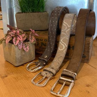 A variety of belts for sale at In the Clover in Wiscasset Maien