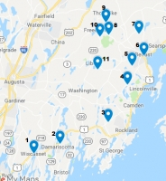 Map of studios participating in the Maine Pottery Tour
